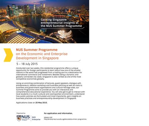 Credit Transfer Form Unsw Nus Summer Programme 2015 On Economic And Enterprise Development In Singapore