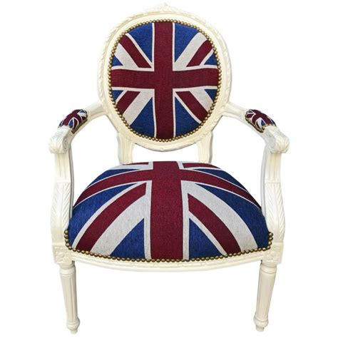 union jack armchair armchair baroque style of louis xvi quot union jack quot and beige