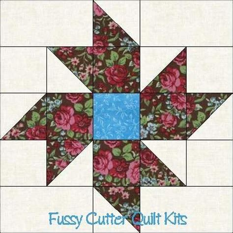 Easy Pinwheel Quilt Block by Scrappy Fabric Pinwheel Flowers Floral Easy Pre Cut Quilt