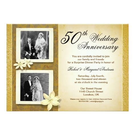 invitation cards for wedding anniversary two photos wedding anniversary invitation card