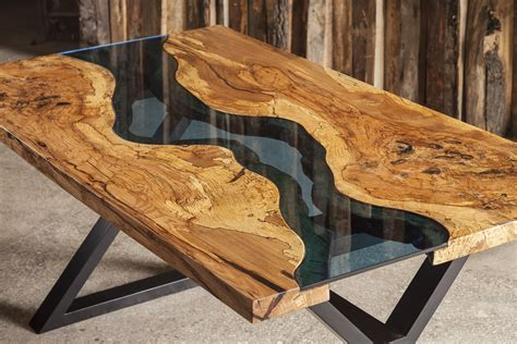 water table for sale aqua table made from ash tree and blue glass available