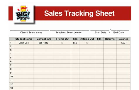 Fundraiser Tracking Spreadsheet by The Fundraiser Sales Tracking Sheet Big Fundraising Ideas