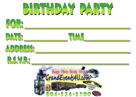 free printable birthday invitations video games grand events 4u