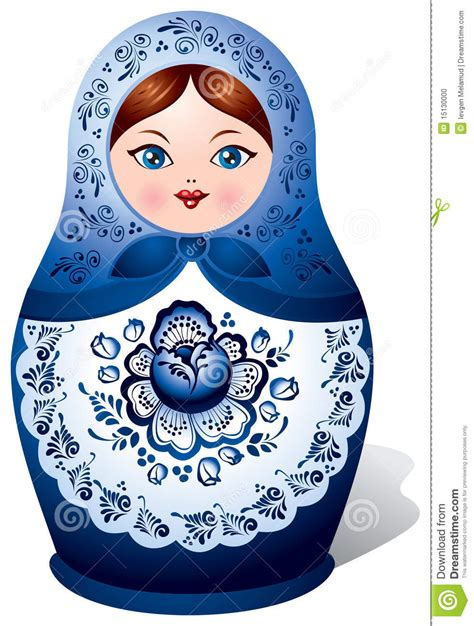 matryoshka doll with gzhel ornament stock vector image