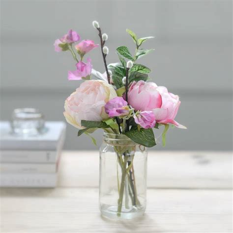 peony vase faux pink peony and sweet pea flowers with vase by