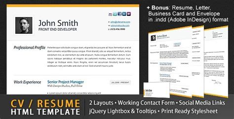 20 free and premium resume cv html website templates and layouts designmodo