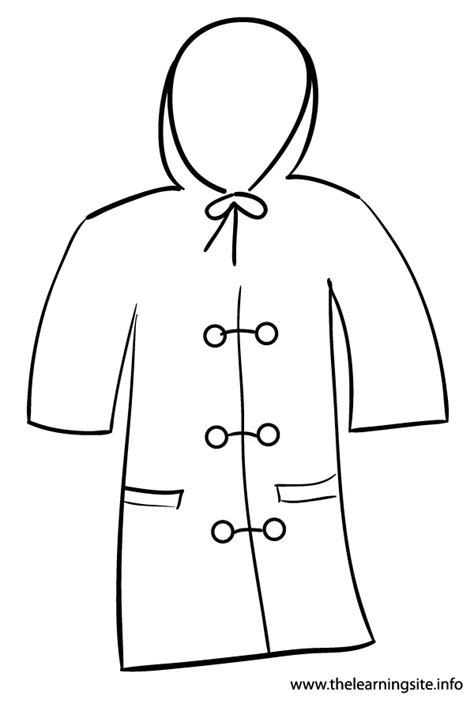 rain jacket coloring page the learning site august 2012