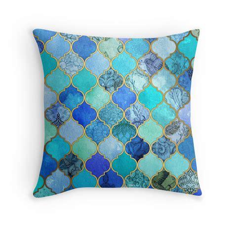 Blue And Gold Decorative Pillows Quot Cobalt Blue Aqua Gold Decorative Moroccan Tile Pattern