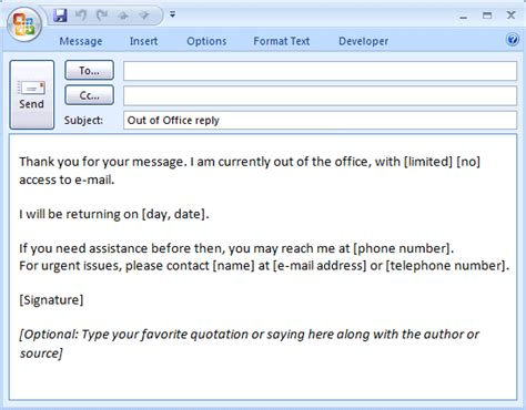 away message template out of office emails exles search bull