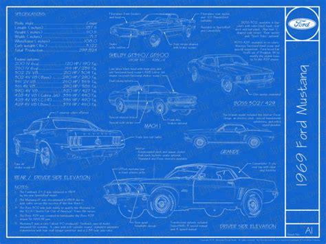 1969 ford mustang blueprint poster 18x24 jpeg
