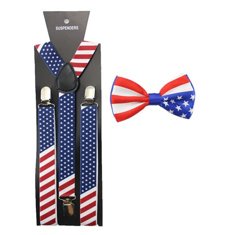 Bow Tie Dasi Kupu 01 2 5 cm usa flag printed pria suspender suspender dasi kupu