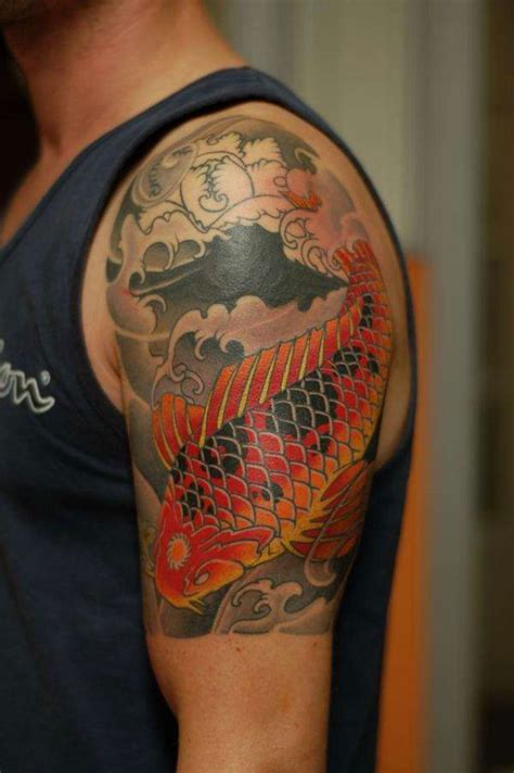 half leg sleeve tattoo amazing koi fish designs notion design koi fish