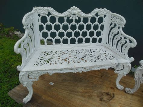 white cast iron bench benches cast iron pair of white house garden benches at