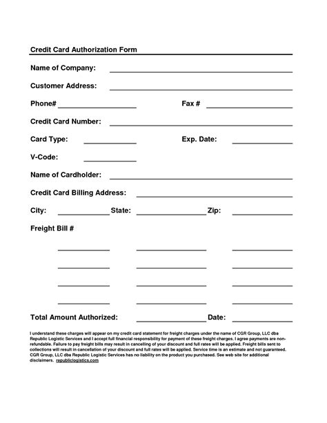 Card Sheet Template by Business Templates Credit Card Authorization Form