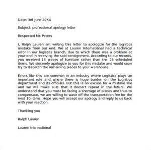 Professional Apology Letter To Professional Apology Letter 9 Free Documents In Pdf Word