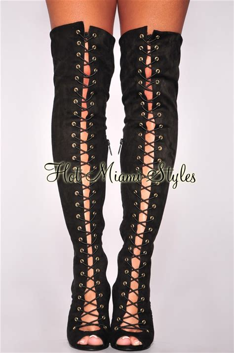 black faux suede lace up knee high heel boots