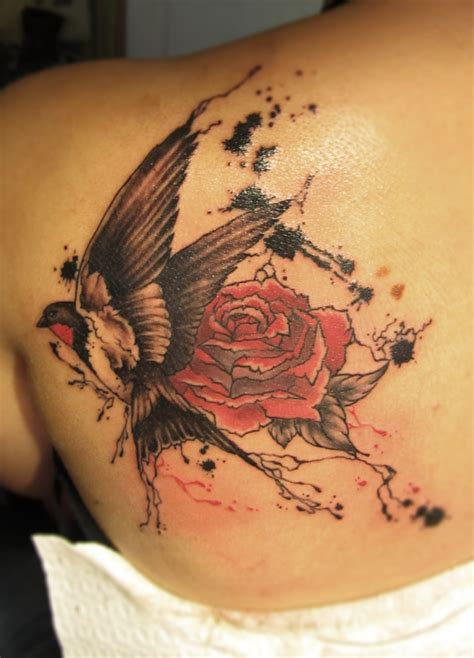 swallow and rose tattoo designs trash polka best ideas gallery