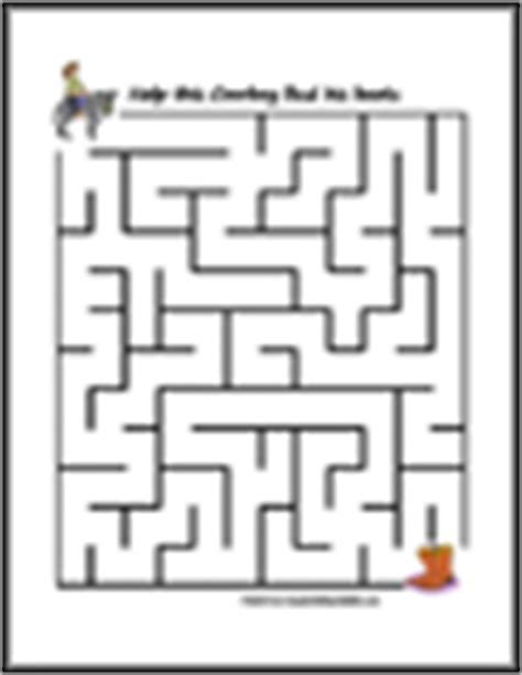 printable cow maze cowboy western activities for kids