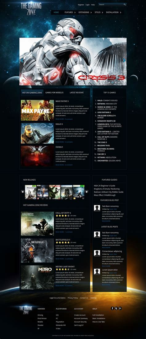pc zone themes gaming zone premium joomla 2 5 template for games website
