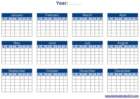 Blank Yearly Calendar Template 2015