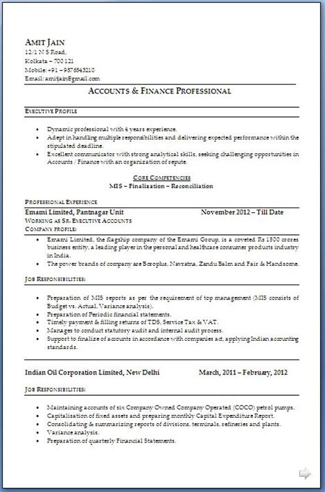 Mba Mis Resume by Ca Resume Format