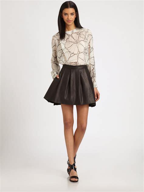 black pleated leather skirt dress ala