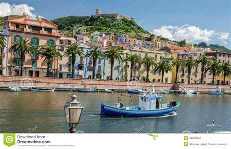 Chateau House Plans bosa and the old castle oristano sardinia stock photo