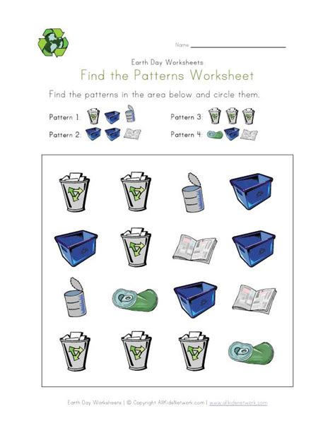 Recycle Worksheets by Earth Day Patterns Worksheet