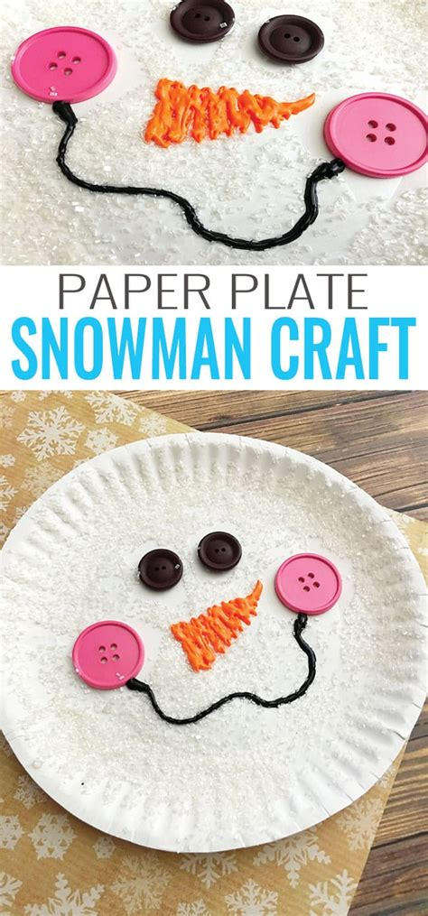 Craft Papers - paper plate snowman craft winter crafts for easy