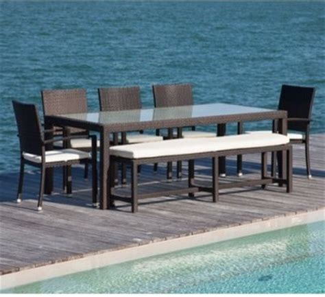 Patio Dining Sets With Bench Seating Source Outdoor Zen All Weather Wicker Patio Dining Set