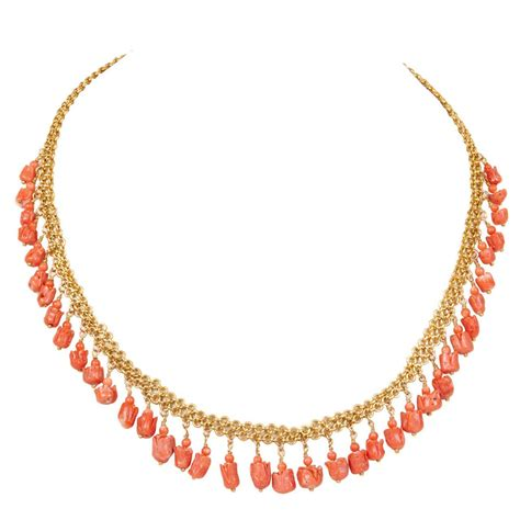 Gold Coral coral tulip and gold necklace for sale at 1stdibs