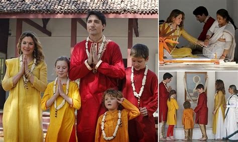 canadian pm justin trudeau poses  indian dress