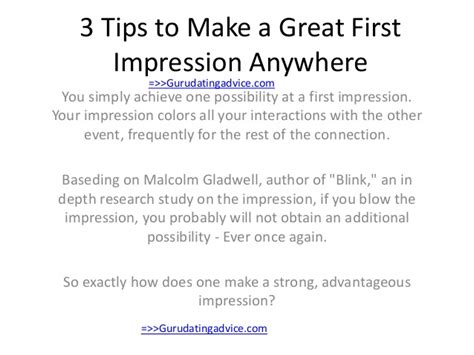 3 tips to make a great first impression