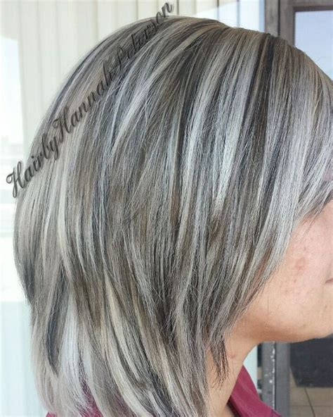 pictures of lowlights on gray hair did this very beautiful color today white blonde with