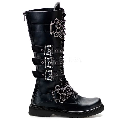 vegan combat boots demonia unisex brass knuckles chain knee high vegan combat