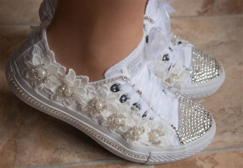 Wedding Shoes Converse by Wedding Converse Trainers With Crystals Lace Pearls