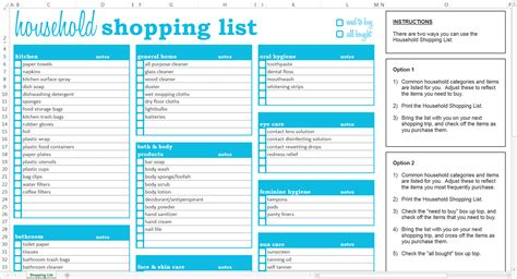 household items list for new home household shopping list excel template savvy spreadsheets