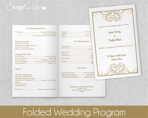 folded wedding program template folded wedding program template instant editable