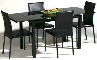 Dining Table Black Glass Black Glass Extendable Dining Table Ebay