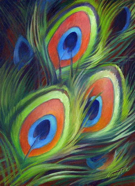 peacock feathers painting by nancy tilles