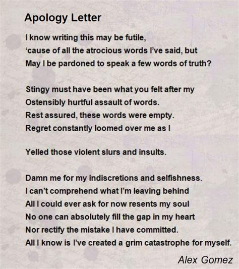 Apology Letter To For Not Caring Apology Letter Poem By Alex Gomez Poem Comments Page 1