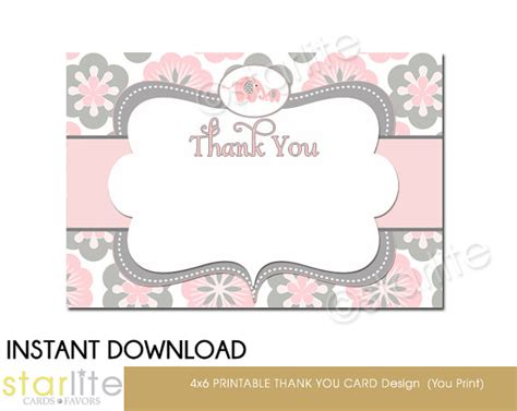 items similar to pink gray elephant baby shower thank you