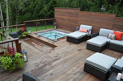 Home Lighting Design Rules modern deck sunken hot tub close up landscaping outdoor