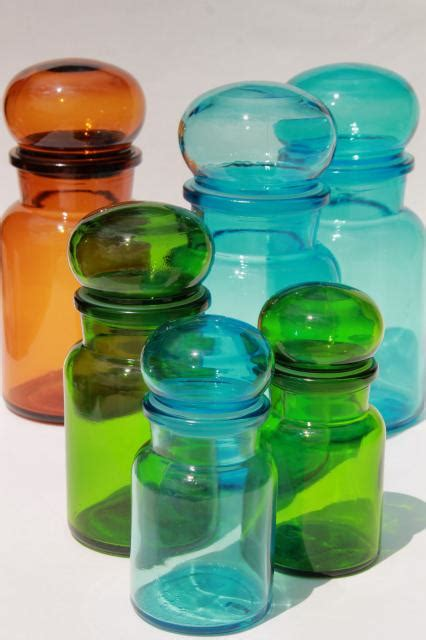 colored glass kitchen canisters mod colored glass bottles vintage kitchen canisters