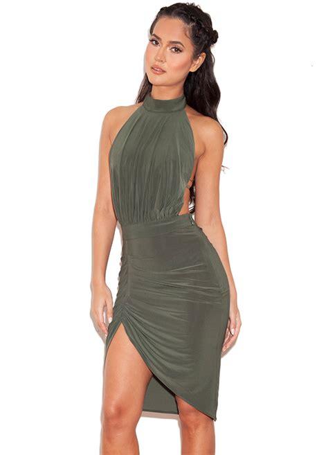 draped backless dress clothing bodycon dresses raquela khaki backless