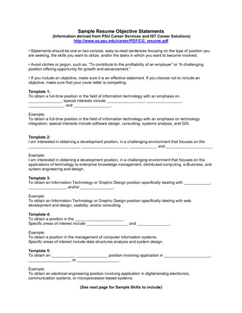 Resume Objective Statement Exle by Objective Statement For Graduate School 28 Images