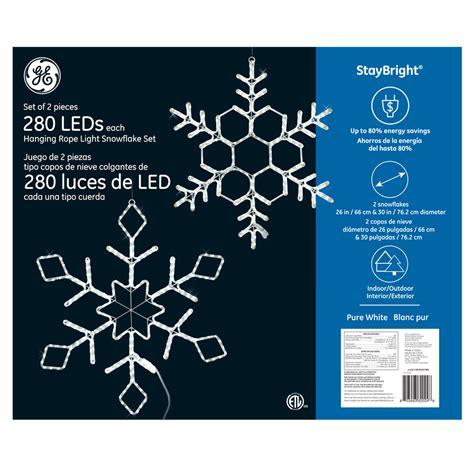 ge 3 ft hanging snowflake with chasing white led lights 82024 ge staybright 174 led hanging rope light snowflake set 2 pack 280ct white ge