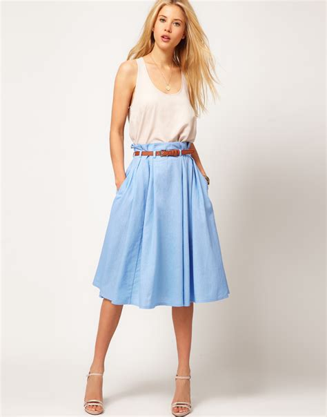 light blue midi lyst asos collection asos linen midi skirt with belt in blue