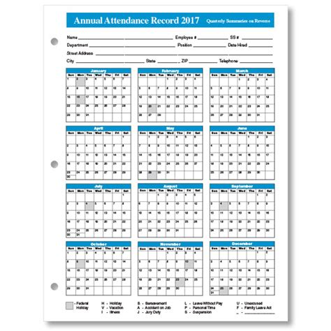 employee attendance record template annual attendance record attendance calendar templates