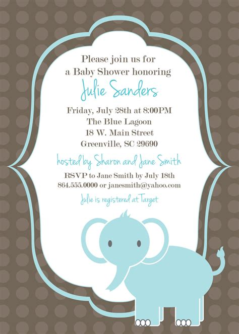 template for baby shower favors printable baby shower invitation elephant boy light blue